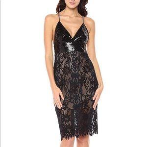 BCBGMaxAzria Elvita Sequin-Lace Dress 0-black/navy